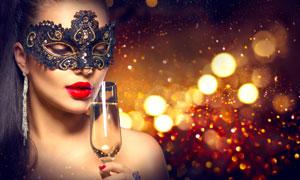 光斑与喝酒的美女人物摄影高清图片