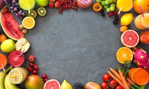 水果与果汁围城的边框摄影高清图片