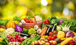 梦幻光斑与一大堆蔬菜水果高清图片