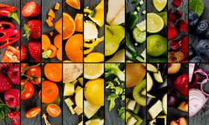 不同蔬菜水果拼贴效果设计高清图片