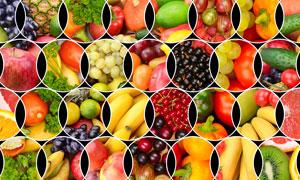 交叉错落排列拼贴水果主题高清图片