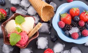 水果冰块与冰淇淋特写摄影高清图片