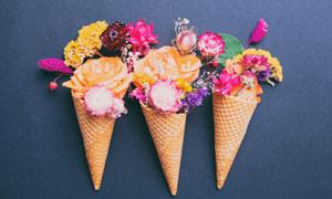 里面放鲜花的脆筒特写摄影高清图片