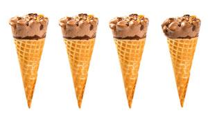 一字排开的冰淇淋特写摄影高清图片