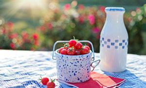 放在桌上的牛奶与番茄摄影高清图片