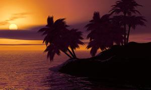 海边小岛椰树黄昏美景摄影高清图片