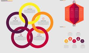 环形与六边形的信息图创意矢量素材