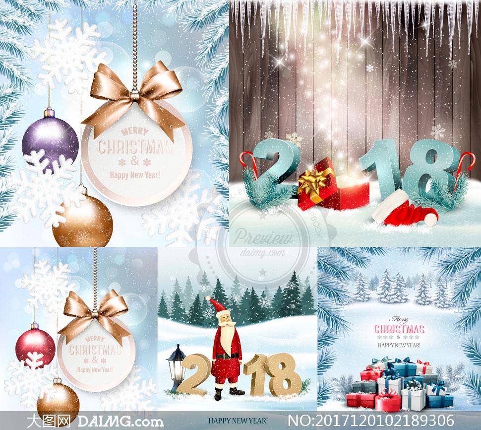 圣诞节雪景与礼物盒等创意矢量素材