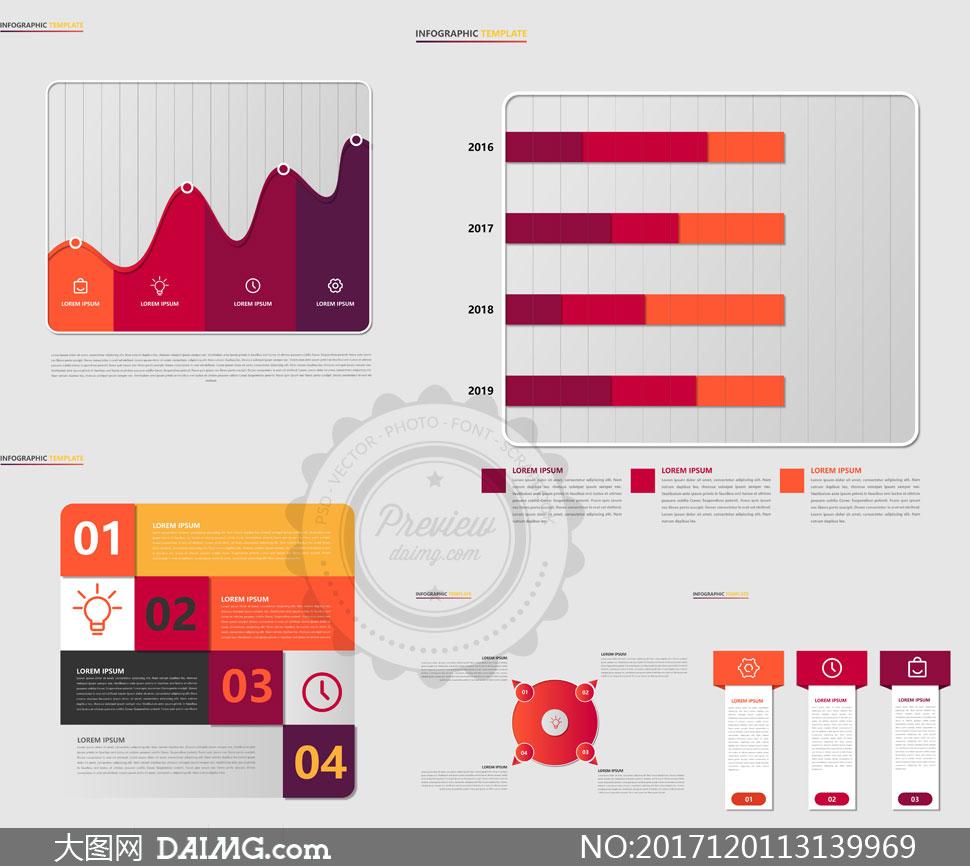 数据统计主题信息图表创意矢量素材