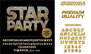 闪闪金色星光装饰英文字母矢量素材