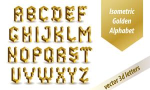 金色立体效果英文字母设计矢量美高梅娱乐