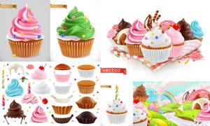 多种口味的冰淇淋与小蛋糕矢量素材