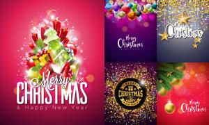 吊球与立体星星等元素圣诞海报素材