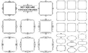 黑白古典花纹装饰边框设计矢量素材