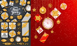礼物盒糖果等圣诞主题元素矢量素材