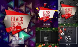 抽象元素黑五与圣诞节海报矢量素材