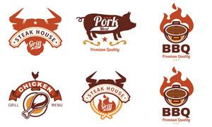 餐饮烧烤等主题标志设计矢量素材V2