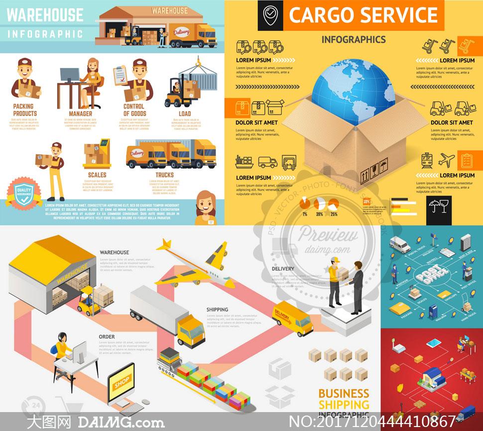 物流运输仓储主题信息图表矢量素材