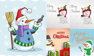 礼物盒与可爱雪人创意圣诞矢量素材