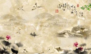 中国风大理石水墨画背景墙PSD素材