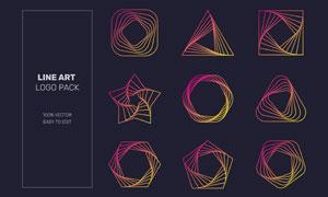 炫彩线条元素几何图形标志矢量素材