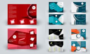 广告宣传适用三折页设计矢量素材V7