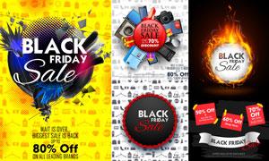 黑色星期五海报与元素创意矢量素材
