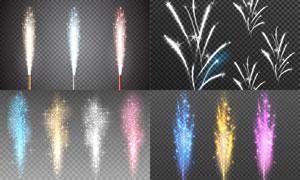 炫丽绽放的璀璨烟花等光效矢量素材