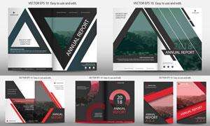 红黑主配色的画册封面设计矢量素材