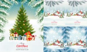 圣诞礼物与冰雪点缀的树枝矢量素材
