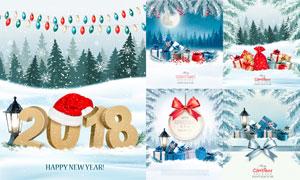 皑皑白雪与圣诞节礼物盒等矢量素材