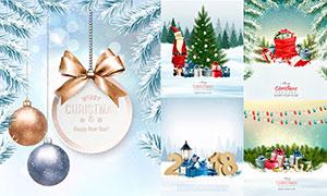 彩灯礼物盒与圣诞老人创意矢量素材