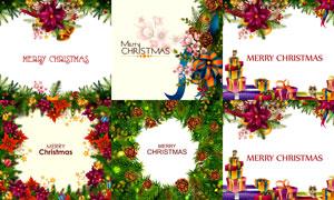 树枝松果组成的圣诞节边框矢量素材