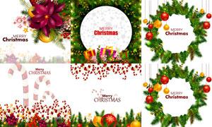 挂球与花环等圣诞边框设计矢量素材