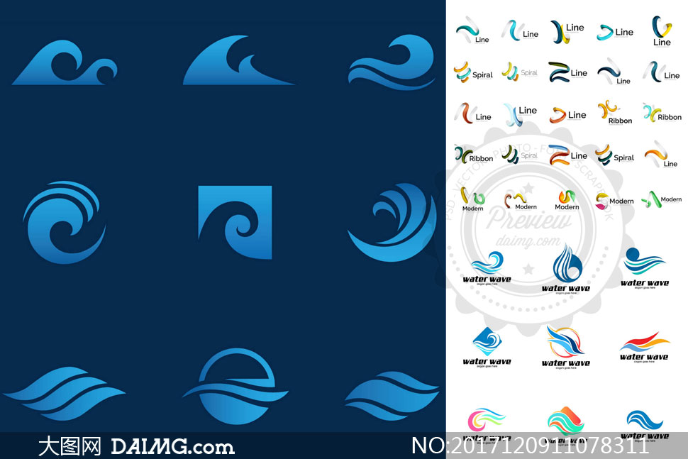 水波与缠绕的线条创意标志矢量素材