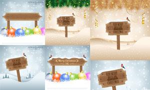竖立在雪中的木牌圣诞主题矢量素材