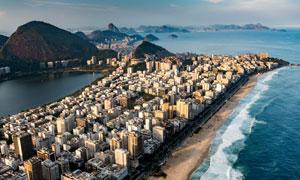 海岸城市风光鸟瞰视角摄影高清图片