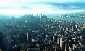 纽约林立的建筑物鸟瞰摄影高清图片