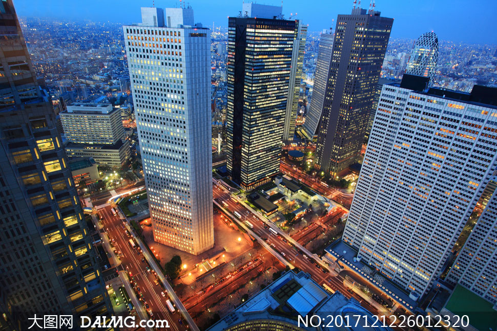 日本東京高樓大廈俯瞰攝影高清圖片