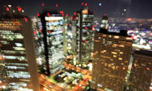炫丽光斑效果东京夜景摄影高清图片