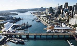 悉尼的皮尔蒙特桥鸟瞰摄影高清图片