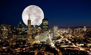 圆月与旧金山城市夜景摄影高清图片