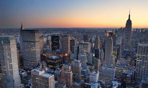 傍晚时分纽约城市风光摄影高清图片