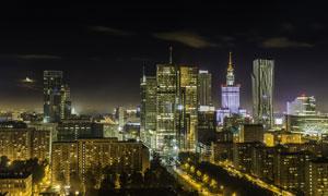 波兰华沙城市夜景风光摄影高清图片