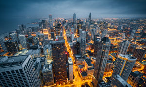 芝加哥天际线繁华景象摄影高清图片