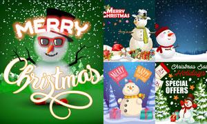 可爱风格雪人元素圣诞创意矢量素材