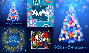 铃铛与树枝花环等圣诞主题矢量素材