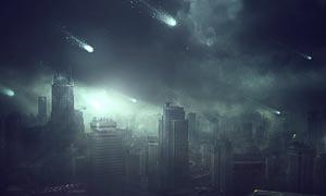 流星袭击的末日城市PS教程素材