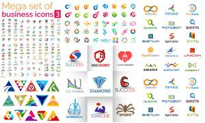 缤纷多彩图形元素标志设计矢量素材