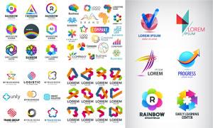 缤纷彩虹色彩标志创意设计矢量素材